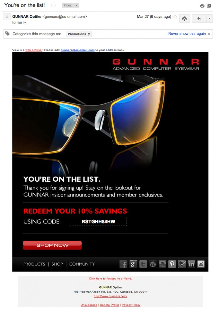 Gunnar Optiks Getting me to Repurchase